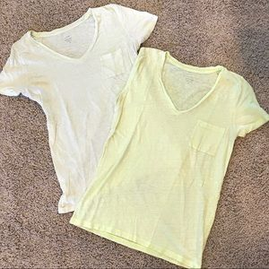 J Crew Linen V Neck Pocket T Shirts EUC